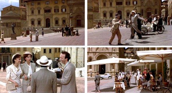 Alcune sequenze del film 'La vita è bella' (foto da www.visitarezzo.com)